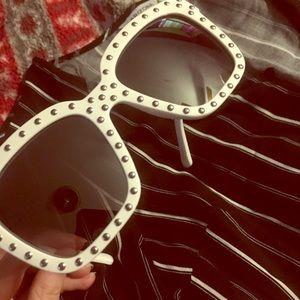 NEW white studded oversized sunglasses
